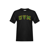 Youth Black T Shirt-Arched UVM