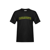 Youth Black T Shirt-Arched Catamounts