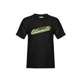 Youth Black T Shirt-Slanted Vermont Catamounts