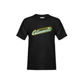 Youth Black T Shirt-Slanted Vermont Catamounts