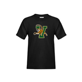 Youth Black T Shirt-Official Logo Distressed