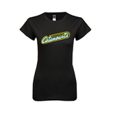 Next Level Ladies SoftStyle Junior Fitted Black Tee-Slanted Vermont Catamounts