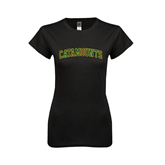 Next Level Ladies SoftStyle Junior Fitted Black Tee-Arched Catamounts