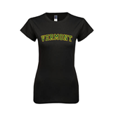 Next Level Ladies SoftStyle Junior Fitted Black Tee-Arched Vermont