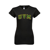 Next Level Ladies SoftStyle Junior Fitted Black Tee-Arched UVM