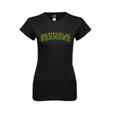 Next Level Ladies SoftStyle Junior Fitted Black Tee-Arched University of Vermont