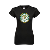 Next Level Ladies SoftStyle Junior Fitted Black Tee-Vermont Catamounts Circle