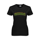 Ladies Black T Shirt-Arched University of Vermont