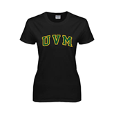 Ladies Black T Shirt-Arched UVM