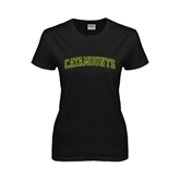 Ladies Black T Shirt-Arched Catamounts