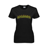 Ladies Black T Shirt-Arched Vermont Catamounts