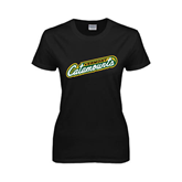 Ladies Black T Shirt-Slanted Vermont Catamounts