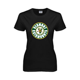 Ladies Black T Shirt-Vermont Catamounts Circle