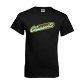 Black T Shirt-Slanted Vermont Catamounts