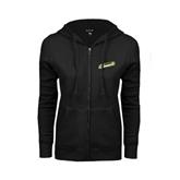 ENZA Ladies Black Fleece Full Zip Hoodie-Slanted Vermont Catamounts
