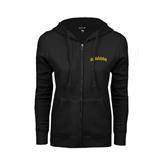 ENZA Ladies Black Fleece Full Zip Hoodie-Arched Vermont Catamounts