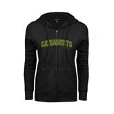 ENZA Ladies Black Fleece Full Zip Hoodie-Arched Catamounts