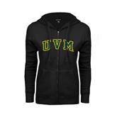 ENZA Ladies Black Fleece Full Zip Hoodie-Arched UVM