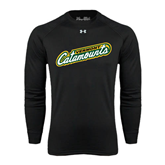 Under Armour Black Long Sleeve Tech Tee-Slanted Vermont Catamounts