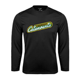 Syntrel Performance Black Longsleeve Shirt-Slanted Vermont Catamounts