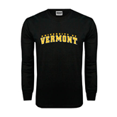 Black Long Sleeve TShirt-Arched University of Vermont