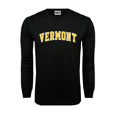 Black Long Sleeve TShirt-Arched Vermont
