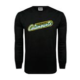 Black Long Sleeve TShirt-Slanted Vermont Catamounts