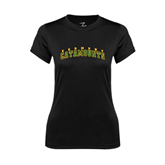 Ladies Syntrel Performance Black Tee-Arched Vermont Catamounts