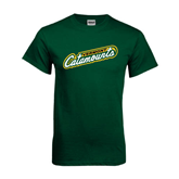 Dark Green T Shirt-Slanted Vermont Catamounts