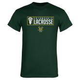 Dark Green T Shirt-Lacrosse Helmet Design