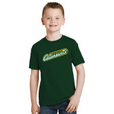 Youth Dark Green T Shirt-Slanted Vermont Catamounts