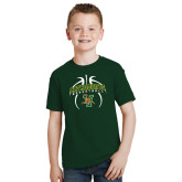 Youth Dark Green T Shirt-Basketball in Ball Design