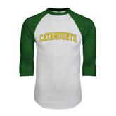 White/Dark Green Raglan Baseball T-Shirt-Arched Catamounts