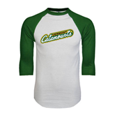 White/Dark Green Raglan Baseball T-Shirt-Slanted Vermont Catamounts