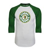 White/Dark Green Raglan Baseball T-Shirt-Vermont Catamounts Circle