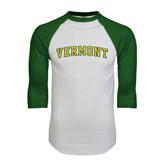 White/Dark Green Raglan Baseball T-Shirt-Arched Vermont