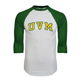 White/Dark Green Raglan Baseball T-Shirt-Arched UVM