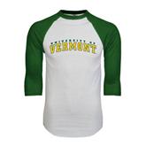 White/Dark Green Raglan Baseball T-Shirt-Arched University of Vermont