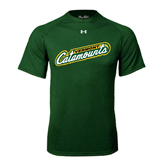 Under Armour Dark Green Tech Tee-Slanted Vermont Catamounts
