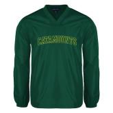 V Neck Dark Green Raglan Windshirt-Arched Catamounts