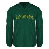 V Neck Dark Green Raglan Windshirt-Arched Vermont Catamounts