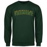Dark Green Fleece Crew-Arched University of Vermont