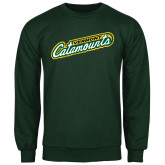 Dark Green Fleece Crew-Slanted Vermont Catamounts
