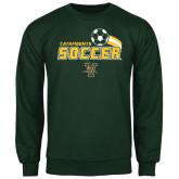 Dark Green Fleece Crew-Soccer Swoosh Design