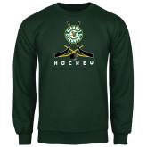 Dark Green Fleece Crew-Hockey Sticks Crossed Design