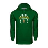 Under Armour Dark Green Performance Sweats Team Hoodie-Basketball in Ball Design