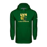 Under Armour Dark Green Performance Sweats Team Hoodie-Lacrosse Helmet Design