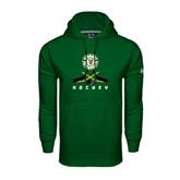 Under Armour Dark Green Performance Sweats Team Hoodie-Hockey Sticks Crossed Design