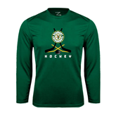 Performance Dark Green Longsleeve Shirt-Hockey Sticks Crossed Design