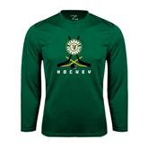 Syntrel Performance Dark Green Longsleeve Shirt-Hockey Sticks Crossed Design